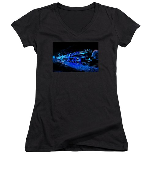 Women's V-Neck T-Shirt (Junior Cut) featuring the mixed media Night Train To Romance by Aaron Berg