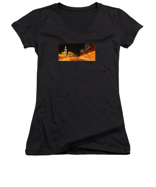 Women's V-Neck T-Shirt (Junior Cut) featuring the photograph Night Trolley On Time by Steve Siri