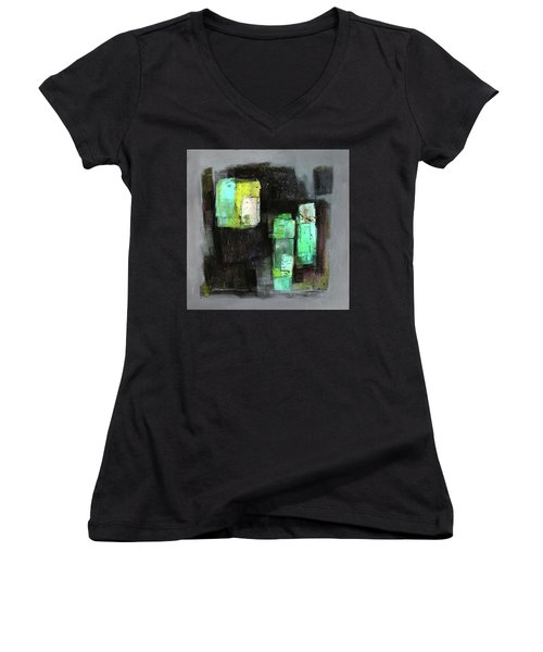 Texture Of Night Painting Women's V-Neck T-Shirt (Junior Cut) by Behzad Sohrabi