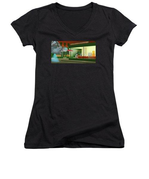 Nighthawks Invasion Women's V-Neck T-Shirt (Junior Cut) by Peter J Sucy