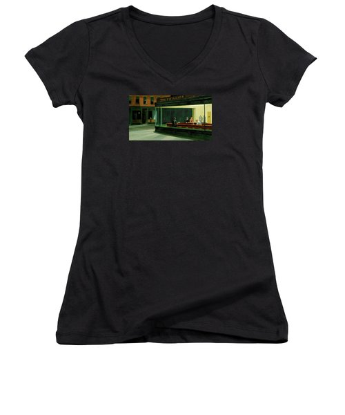 Nighthawks Women's V-Neck T-Shirt (Junior Cut) by Sean McDunn