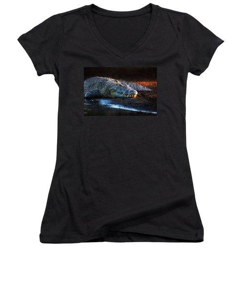 Nile Crocodile On Riverbank-1 Women's V-Neck T-Shirt