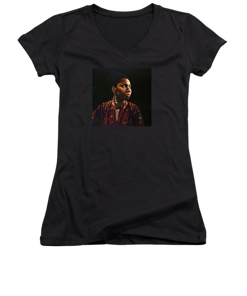 Nina Simone Painting Women's V-Neck T-Shirt (Junior Cut) by Paul Meijering