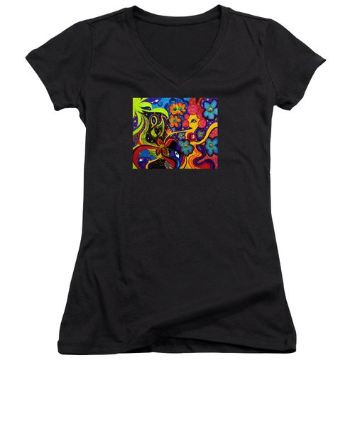 Joyful Women's V-Neck T-Shirt (Junior Cut) by Marina Petro