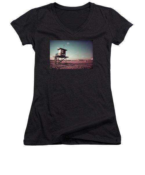No Lifeguard On Duty Women's V-Neck T-Shirt (Junior Cut) by Joseph Westrupp