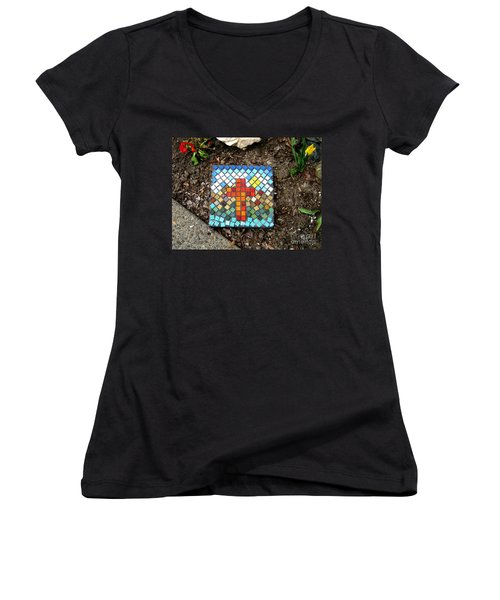No Stepping Stone Women's V-Neck T-Shirt (Junior Cut) by Marie Neder
