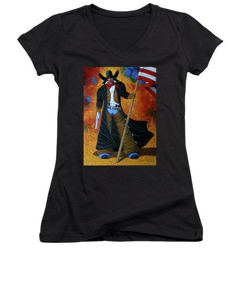 No Trespassing Women's V-Neck T-Shirt (Junior Cut) by Lance Headlee