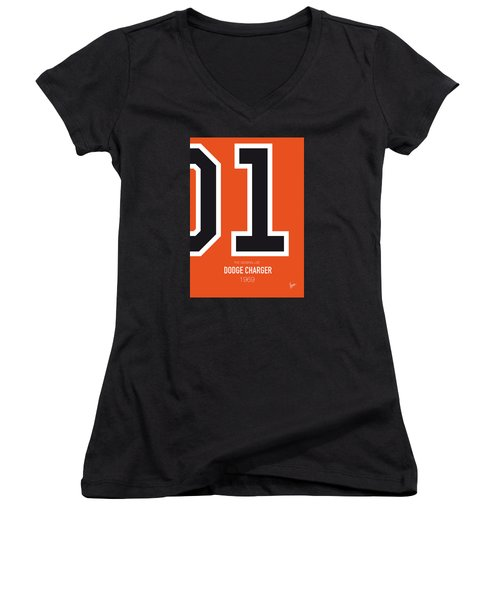 No001 My The Dukes Of Hazard Minimal Movie Car Poster Women's V-Neck (Athletic Fit)