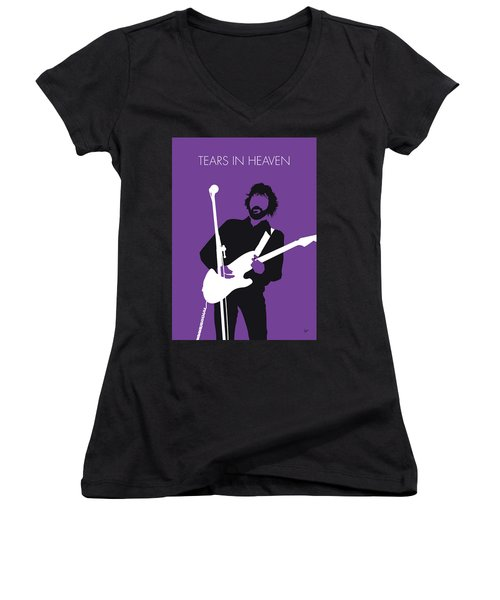 No141 My Eric Clapton Minimal Music Poster Women's V-Neck (Athletic Fit)