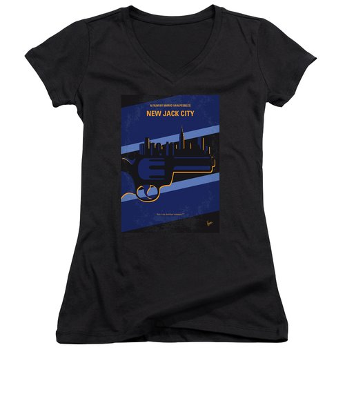 Women's V-Neck T-Shirt (Junior Cut) featuring the digital art No762 My New Jack City Minimal Movie Poster by Chungkong Art