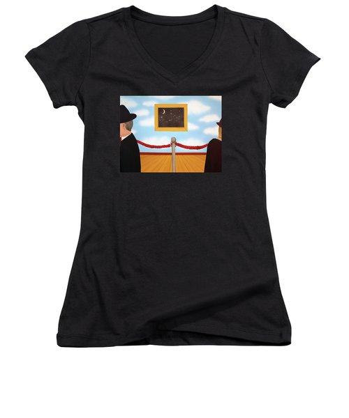 Nobody Noticed Women's V-Neck T-Shirt (Junior Cut) by Thomas Blood