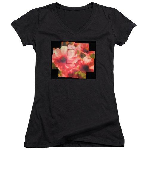 Nocturnal Pinks Photo Sculpture Women's V-Neck T-Shirt (Junior Cut) by Michael Bessler