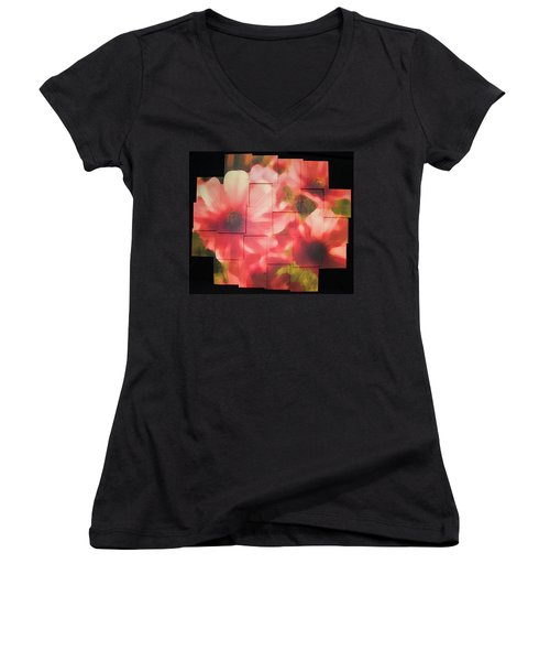 Nocturnal Pinks Photo Sculpture Women's V-Neck (Athletic Fit)