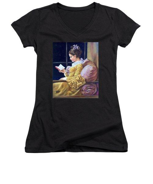 Nocturne Inspired By Fragonard Women's V-Neck T-Shirt
