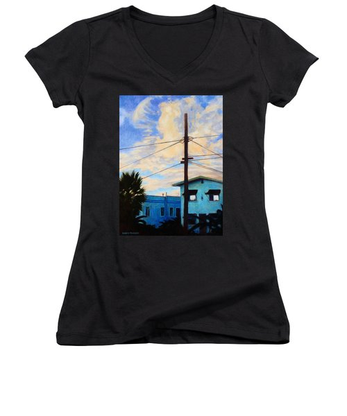 Women's V-Neck T-Shirt (Junior Cut) featuring the painting Normal Ave by Andrew Danielsen