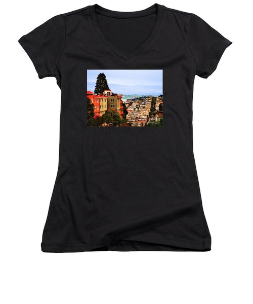 Looking Toward North Beach Women's V-Neck (Athletic Fit)