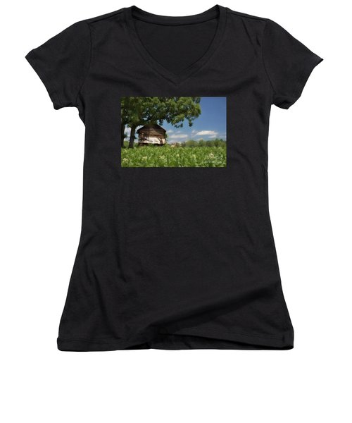 Women's V-Neck T-Shirt (Junior Cut) featuring the photograph North Carolina Tobacco by Benanne Stiens