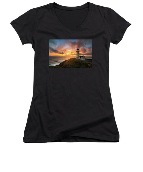 North Head Dreaming Women's V-Neck T-Shirt (Junior Cut) by Ryan Manuel