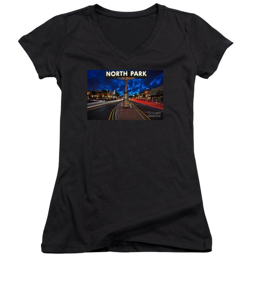 North Park Neon Sign San Diego California Women's V-Neck