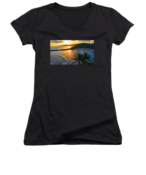 North Shore Of Oahu  Women's V-Neck T-Shirt (Junior Cut) by Michael Rucker