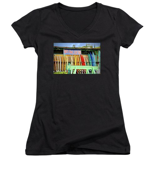 Women's V-Neck T-Shirt (Junior Cut) featuring the photograph North Shore Surf Shop 1 by Jim Albritton