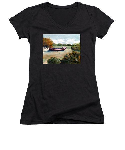 Women's V-Neck T-Shirt (Junior Cut) featuring the painting North Topsail Island by Jim Phillips