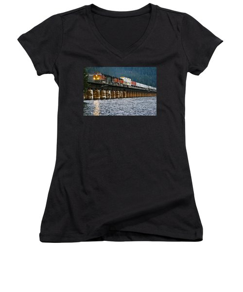 Northbound At Dusk Women's V-Neck (Athletic Fit)