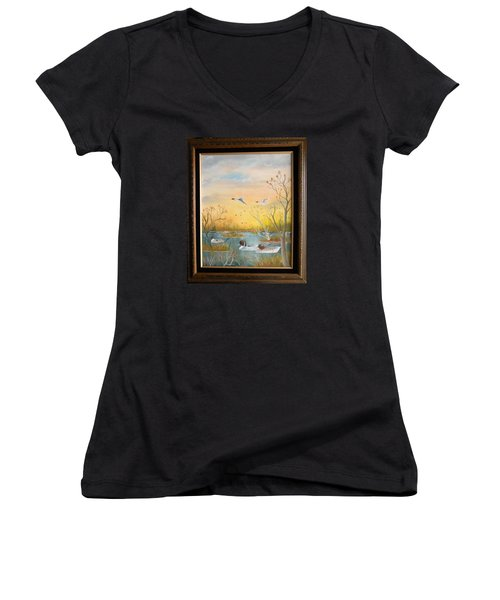 Northen Pintails Women's V-Neck T-Shirt (Junior Cut) by Al  Johannessen