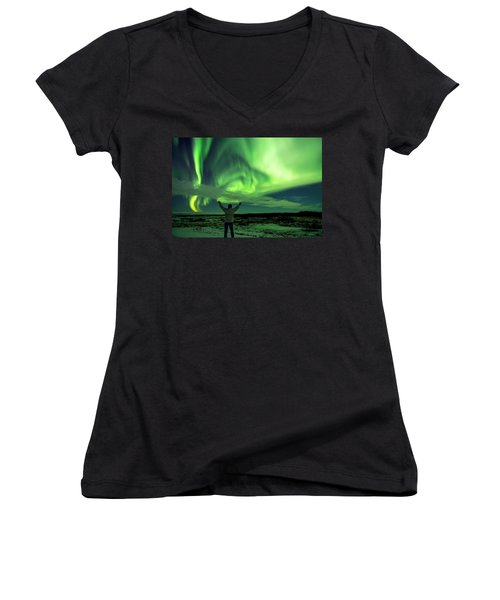 Northern Light In Western Iceland Women's V-Neck T-Shirt