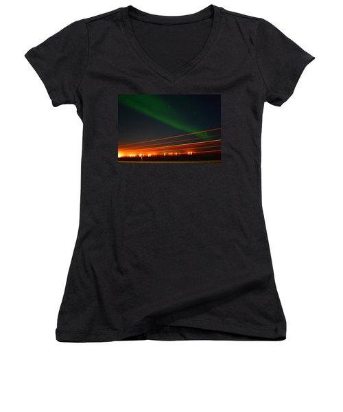 Northern Lights Women's V-Neck T-Shirt (Junior Cut) by Anthony Jones