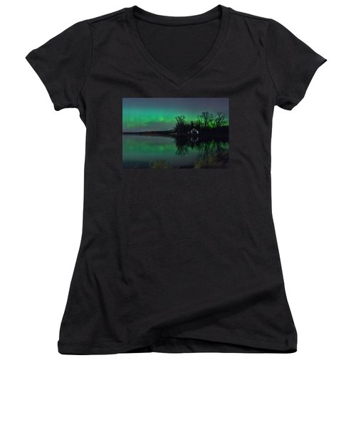 Northern Lights At Gull Lake Women's V-Neck