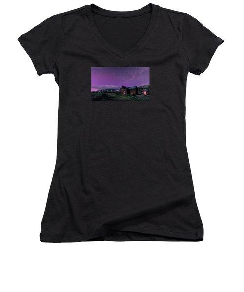 Northern Lights On Boreas Pass Women's V-Neck T-Shirt (Junior Cut) by Michael J Bauer