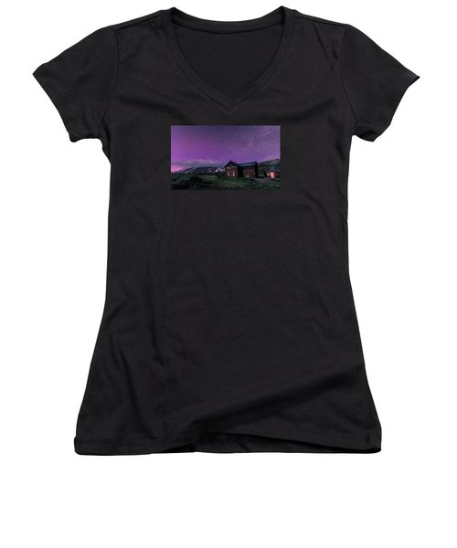 Northern Lights On Boreas Pass Women's V-Neck T-Shirt