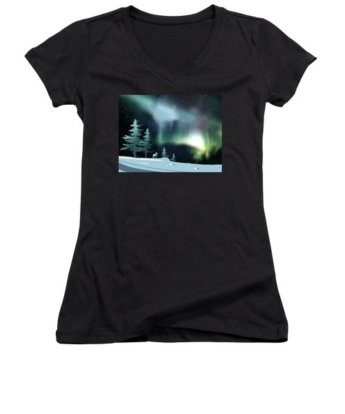 Northern Lights Women's V-Neck T-Shirt