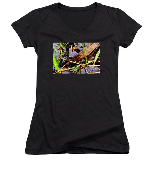 Women's V-Neck T-Shirt (Junior Cut) featuring the mixed media Northern Water Snake by Olga Hamilton