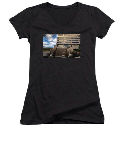 Women's V-Neck T-Shirt featuring the photograph Northwestern Mutual Waterfall by Randy Scherkenbach