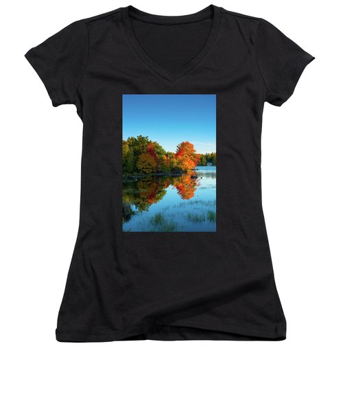 Northwood Lake Autumn Women's V-Neck (Athletic Fit)