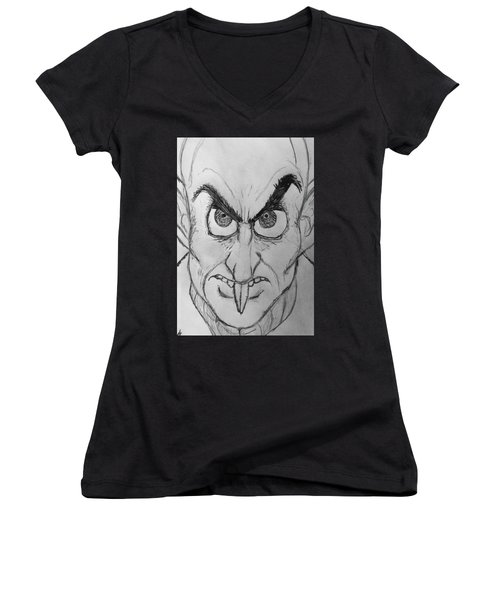 Nosferatu Women's V-Neck T-Shirt (Junior Cut) by Yshua The Painter