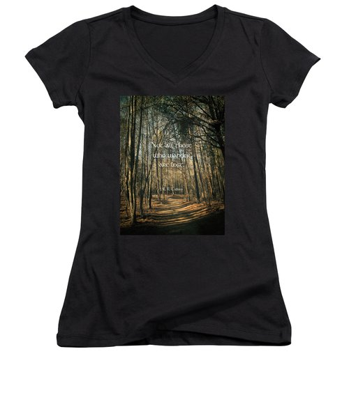Not All Those Who Wander Women's V-Neck T-Shirt (Junior Cut) by Jessica Brawley
