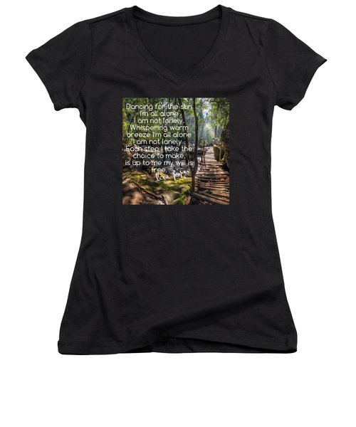 Not Alone Women's V-Neck T-Shirt (Junior Cut) by Lisa Piper