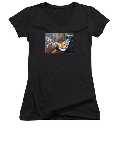 Not Just Tea And Scones - Qcwa Toowoomba 90 Years Women's V-Neck T-Shirt (Junior Cut) by Therese Alcorn
