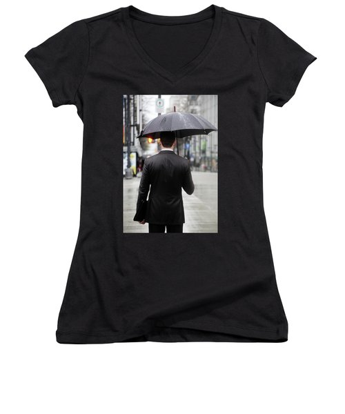 Women's V-Neck T-Shirt (Junior Cut) featuring the photograph Not Me  by Empty Wall