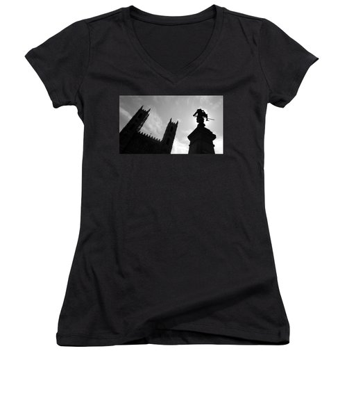 Women's V-Neck T-Shirt (Junior Cut) featuring the photograph Notre Dame Silhouette by Valentino Visentini