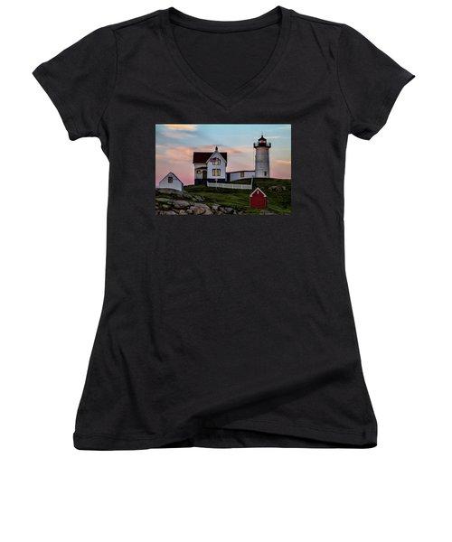 Nubble Lighthouse At Dusk  Women's V-Neck