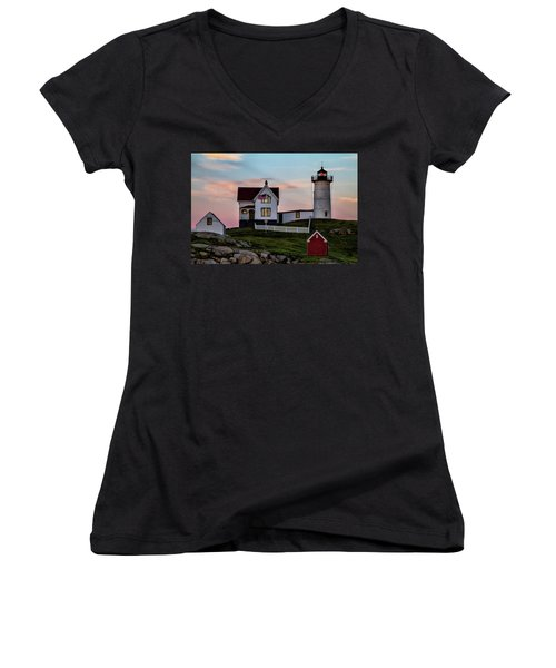 Nubble Lighthouse At Dusk  Women's V-Neck (Athletic Fit)