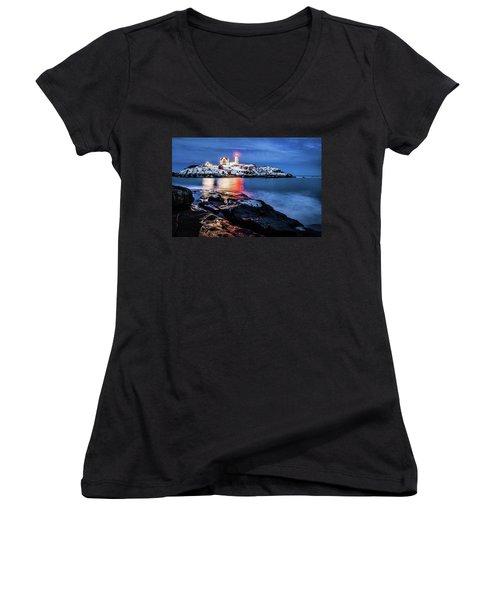 Nubble Lights Women's V-Neck T-Shirt