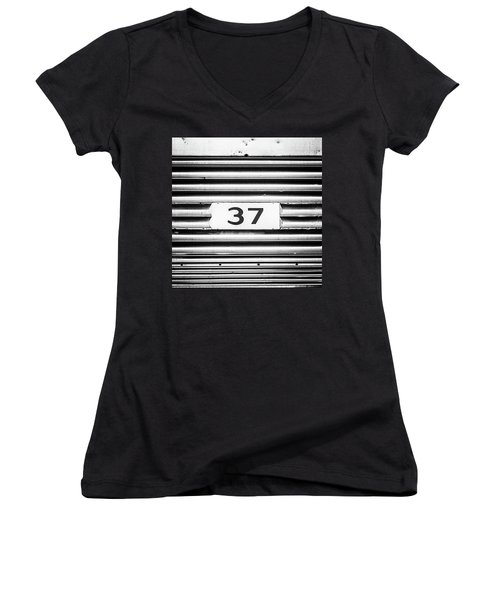 Women's V-Neck T-Shirt (Junior Cut) featuring the photograph Number 37 Metal Square by Terry DeLuco