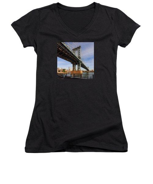 Ny Steel Women's V-Neck T-Shirt (Junior Cut) by Anthony Fields