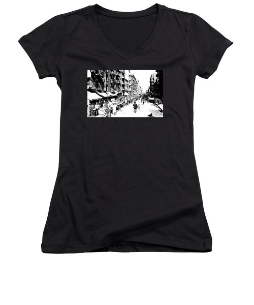 Nyc Lower East Side - 1902 -market Day Women's V-Neck T-Shirt