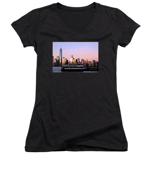 Nyc Skyline With Boat At Pier Women's V-Neck T-Shirt (Junior Cut) by Matt Harang